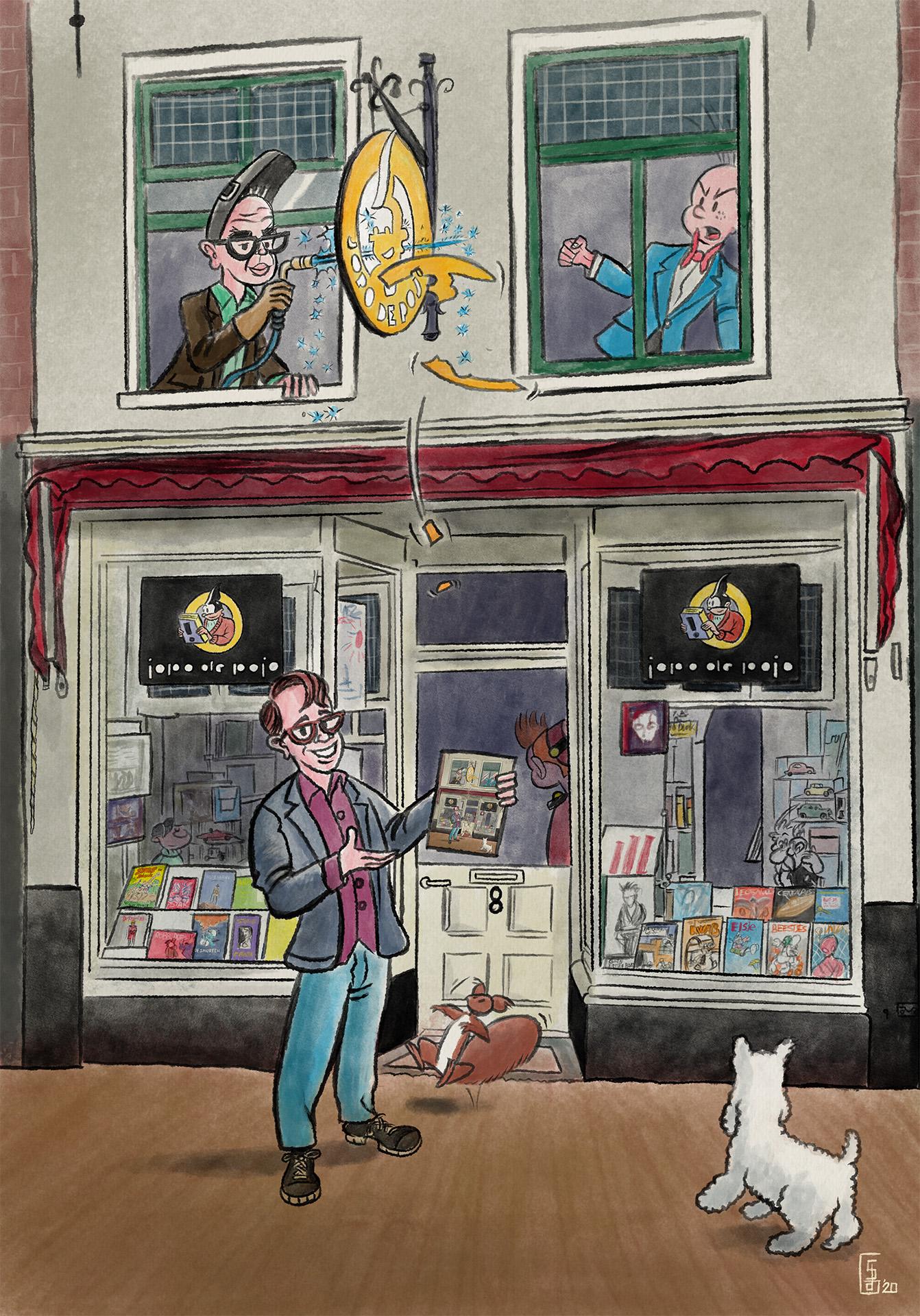 poster stripwinkel Jopo de Pojo door striptekenaar Stefan de Groot